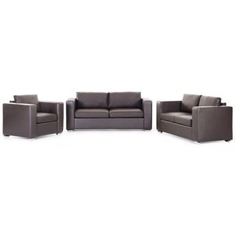 Beliani Zestaw wypoczynkowy 3 + 2 + 1 brązowy dwoina minimalistyczny prosty salon duży pokój