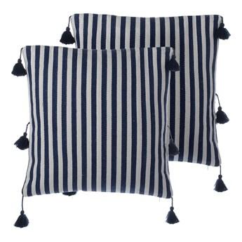 Beliani Zestaw 2 poduszek dekoracyjnych niebieskie w paski z frędzlami 45 x 45 cm z wypełnieniem ozdobna akcesoria salon sypialnia