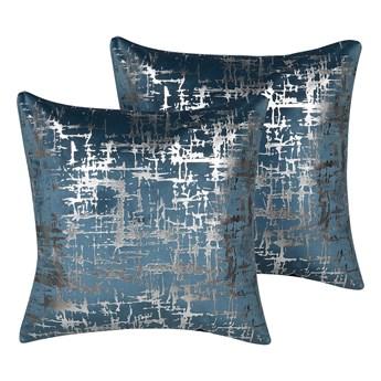 Beliani Zestaw 2 poduszek dekoracyjnych niebieski welurowy srebrna siatka 45 x 45 cm z wypełnieniem ozdobna paski kratka akcesoria salon sypialnia