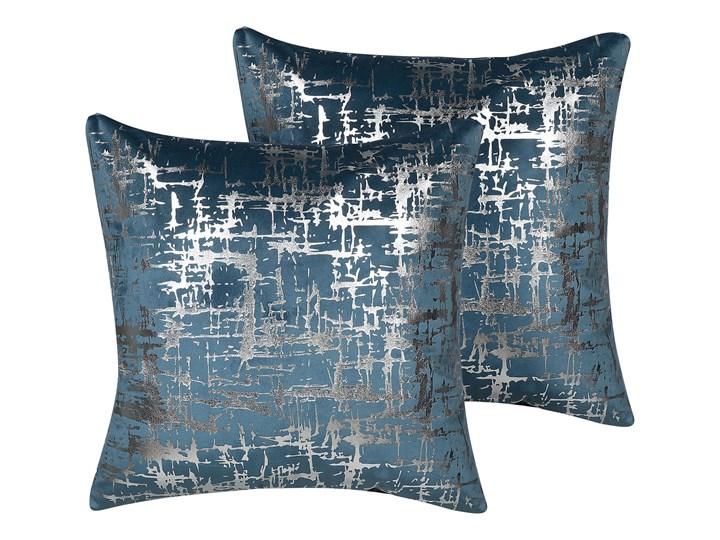 Beliani Zestaw 2 poduszek dekoracyjnych niebieski welurowy srebrna siatka 45 x 45 cm z wypełnieniem ...