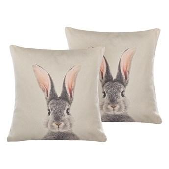 Beliani Zestaw 2 poduszek dekoracyjnych szare bawełniane motyw w zajączki kwadratowe 45 x 45 cm z wypełnieniem Wielkanocna dekoracja