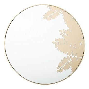 Beliani Okrągłe lustro ścienne złote metalowa rama 56 cm wzór liści łazienka salon styl retro