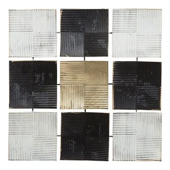 Beliani Dekoracja ścienna wisząca biało-czarna metalowa 50 x 50 cm geometryczna ozdoba w kwadraty