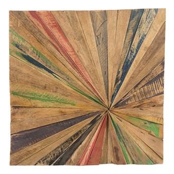Beliani Dekoracja ścienna z drewna tekowego z recyklingu 70 x 70 cm kolorowa kwadratowa styl rustykalny