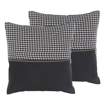 Beliani Zestaw 2 poduszek dekoracyjnych biało-czarne wzór w pepitkę 45 x 45 cm z wypełnieniem ozdobna akcesoria salon sypialnia