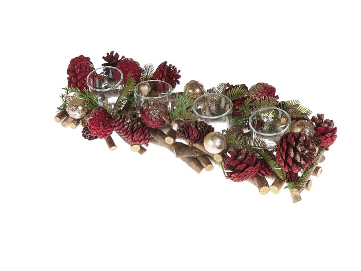 Beliani Świecznik czerwony drewniany plastikowy z szyskami i gałązkami na 4 świeczki świąteczny trad ...