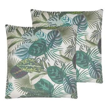Beliani Zestaw 2 poduszek dekoracyjnych wielokolorowy poliester 45 x 45 cm nadruk w egzotyczne liście z wypełnieniem ozdobny akcesoria salon sypialnia