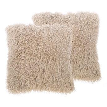 Beliani Zestaw 2 poduszek dekoracyjnych beżowe poliestrowe materiał szare włochate poszewki z wypełnieniem 45 cm kwadratowe