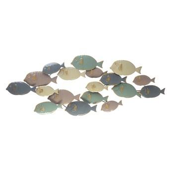 Beliani Dekoracja ścienna wzór ryby wielokolorowa metalowa ozdobna styl marinistyczny