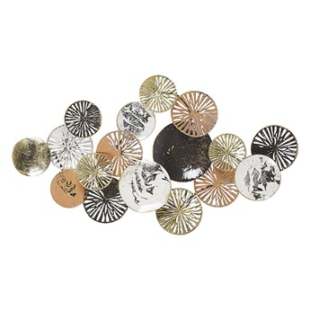 Beliani Dekoracja ścienna koła złoto-srebrna metalowa ozdobna styl industrialny nowoczesny