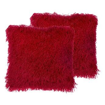 Beliani Zestaw 2 poduszek dekoracyjnych czerwone poliestrowe materiał szare włochate poszewki z wypełnieniem 45 cm kwadratowe