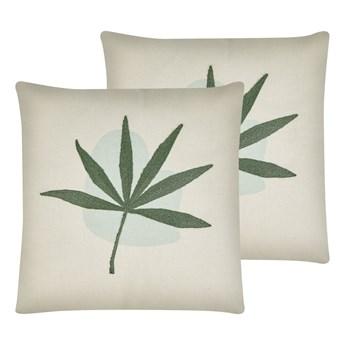 Beliani Zestaw 2 poduszek zielony poliester bawełna 45 x 45 cm haftowany liść boho salon sypialnia