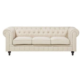 Beliani Sofa 3-os beżowa tapicerowana chesterfield tuftowana pikowana vintage glamour kanapa salon