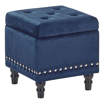 Beliani Puf ciemnoniebieski welurowy tapicerowany drewniane nóżki pikowane siedzisko
