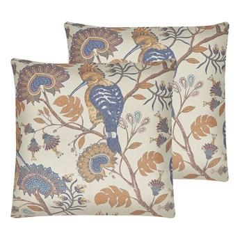 Beliani Zestaw 2 poduszek dekoracyjnych wielokolorowy 45 x 45 cm motyw ptaka roślinny wzór zdejmowana poszewka ozdobna poducha na sofę łóżko boho