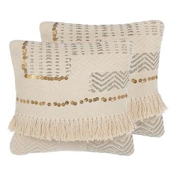Beliani Zestaw 2 poduszek dekoracyjnych beżowy bawełniany z frędzlami 45 x 45 cm z wypełnieniem ozdobny akcesoria boho retro salon sypialnia