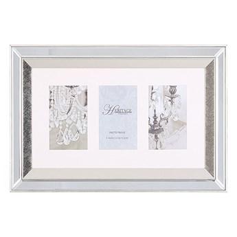 Beliani Multiramka srebrna lustrzana 32 x 50 cm na zdjęcia 3 fotografie 10 x 15 cm kolaż wisząca