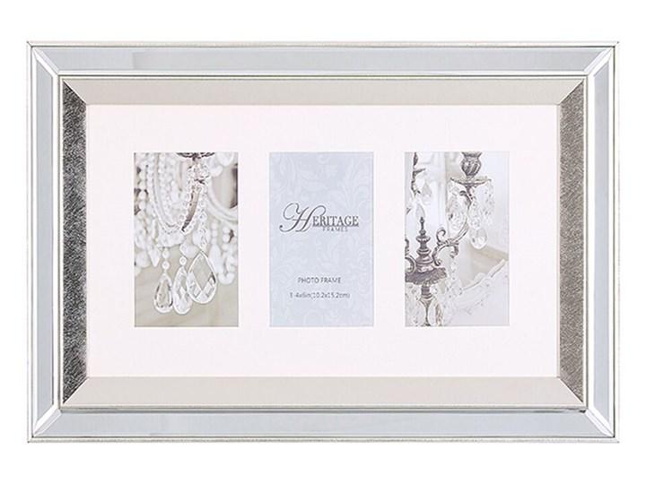 Beliani Multiramka srebrna lustrzana 32 x 50 cm na zdjęcia 3 fotografie 10 x 15 cm kolaż wisząca Kolor Srebrny