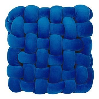 Beliani Poduszka supeł niebieska welurowa 30 x 30 cm wiązna pleciona kwadratowa nowoczesna
