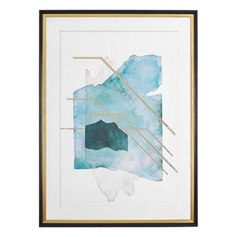 Beliani Obraz w ramie niebiesko-złoty 60 x 80 cm na ścianę efekt akwareli plakat