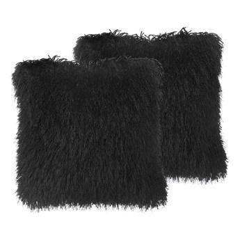 Beliani Zestaw 2 poduszek dekoracyjnych czarne poliestrowe materiał szare włochate poszewki z wypełnieniem 45 cm kwadratowe