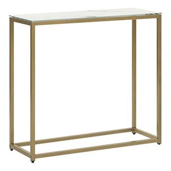 Beliani Konsola biały blat efekt marmuru złote metalowe nogi hartowane szkło styl nowoczesny glam salon sypialnia korytarz