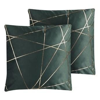 Beliani Zestaw 2 poduszek dekoracyjnych zielony welur 45 x 45 cm złoty wzór geometryczny zdejmowana poszewka ozdobna poducha na sofę łóżko glamour