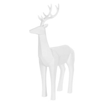 Beliani Figurka dekoracyjna renifer biała żywica syntetyczna 40 x 24 cm geometryczna styl skandynawski