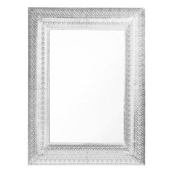 Beliani Lustro ścienne wiszące srebrne 70 x 90 cm prostokątne vintage retro sypialnia salon łazienka