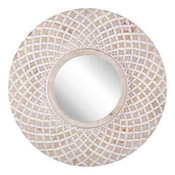 Beliani Lustro ścienne jasne drewno okrągłe 60 cm ręcznie wykonane geometryczny wzór marokańska koniczyna boho rustykalne