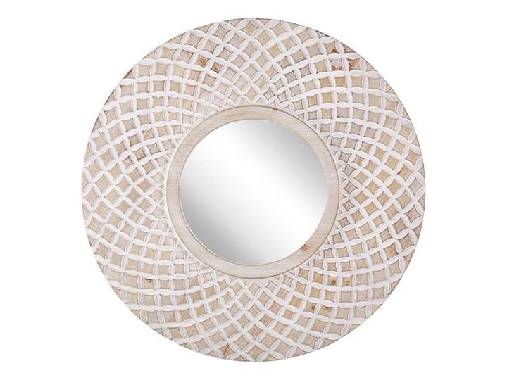 Beliani Lustro ścienne jasne drewno okrągłe 60 cm ręcznie wykonane geometryczny wzór marokańska koniczyna boho rustykalne Lustro z ramą Kolor Szary
