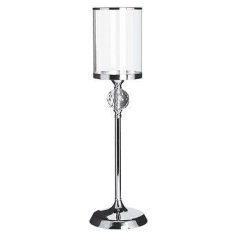 Beliani Świecznik stojak na świece lampion srebrny ozdobny kryształowa nóżka