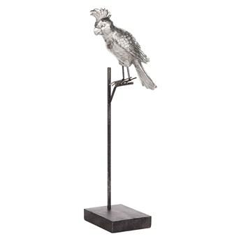 Beliani Figurka dekoracyjna srebrna z czarnym w kształcie papugi z podstawką 50 cm nowoczesny wygląd