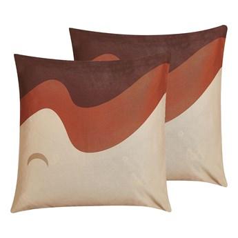 Beliani Zestaw 2 poduszek dekoracyjnych wielokolorowy 45 x 45 cm wzór fal z wypełnieniem ozdoba akcesoria salon sypialnia