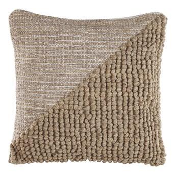 Beliani Poduszka dekoracyjna beżowa bawełniana 45 x 45 cm zdejmowana poszewka teksturowana z wypełnieniem