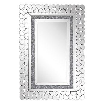 Beliani Lustro ścienne srebrne 60 x 90 cm prostokątne wiszące dekoracyjna lustrzana rama styl glamour