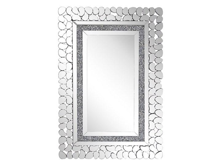 Beliani Lustro ścienne srebrne 60 x 90 cm prostokątne wiszące dekoracyjna lustrzana rama styl glamou ...