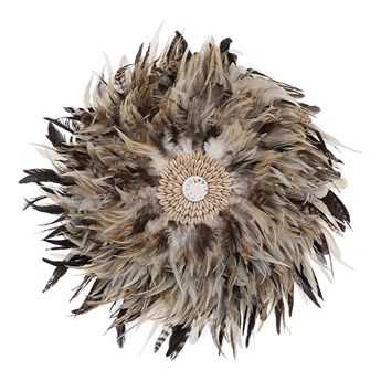 Beliani Dekoracja ścienna jasnobrązowa 40 cm z piór i muszelek