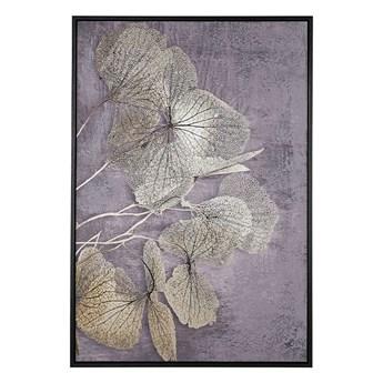 Beliani Obraz w ramie złoto-szary nadruk z roślinami na płótnie liście 63 x 93 cm nowoczesna dekoracja ścienna styl glamour