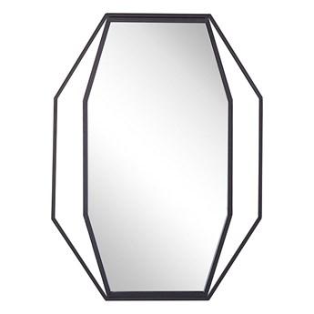 Beliani Lustro ścienne wiszące ośmiokątne szare metalowe 80 x 60 cm styl nowoczesny minimalistyczny