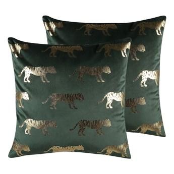 Beliani Zestaw 2 poduszek dekoracyjnych zielony welurowy złoty nadruk w tygrysy 45 x 45 cm z wypełnieniem ozdobna akcesoria salon sypialnia