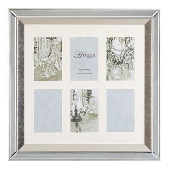 Beliani Multiramka srebrna lustrzana 50 x 50 cm na zdjęcia 6 fotografii 10 x 15 cm kolaż wisząca