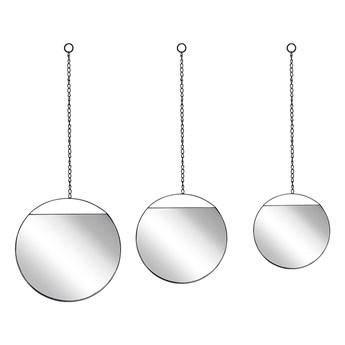 Beliani Zestaw 3 luster ściennych czarne metalowa rama okrągłe na łańcuszku różnych rozmiarów dekoracja styl nowoczesny