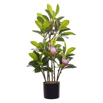 Beliani Sztuczna roślina doniczkowa materiał syntetyczny zielono-różowa 70 cm magnolia dekoracja do wnętrz
