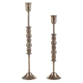 Beliani Zestaw 2 świeczników złotych metalowych dwa rozmiary stojak na świece klasyczny