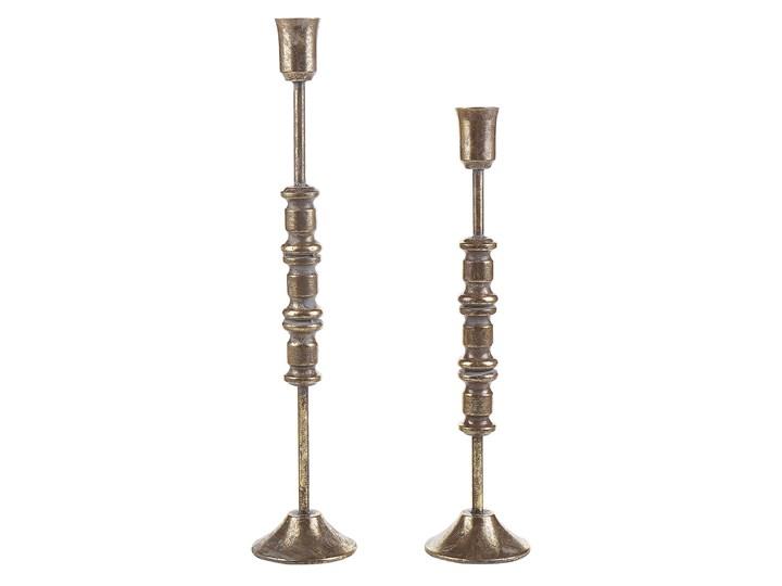 Beliani Zestaw 2 świeczników złotych metalowych dwa rozmiary stojak na świece klasyczny Kategoria Świeczniki i świece