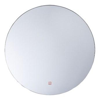 Beliani Lustro łazienkowe wiszące okrągłe srebrne 60 cm światło LED nieparujące