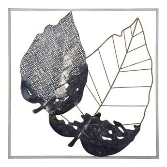 Beliani Dekoracja ścienna liście czarno-złota metalowa 50 x 50 cm ażurowa ozdoba styl nowoczesny