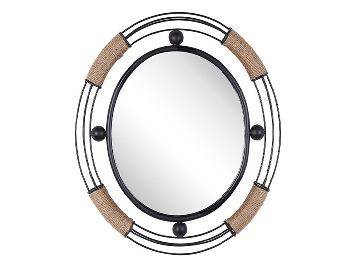 Beliani Lustro ścienne jasne drewno okrągłe 60 cm ręcznie wykonane geometryczna rama rustykalne Lustro z ramą Kolor Szary