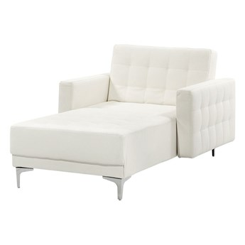 Beliani Szezlong rozkładany biały ekoskóra nowoczesna pikowana leżanka do salonu